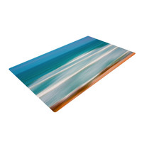 "Ann Barnes ""Sun and Sea"" Blue Aqua Woven Area Rug"