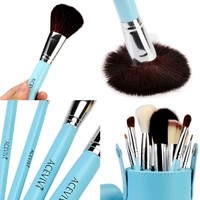 ACEVIVI 7 pcs Premium Kabuki Pink Makeup Brush Set Face Powder Foundation Eye Cosmetic Brush Kit with Roller Case