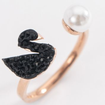 Black Swan pearl ring rose gold simple fashion opening wild index finger ring