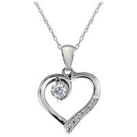 "0.17 Ct Genuine White Diamond Sterling Silver Heart Shape Pendant with 18"" Chain"