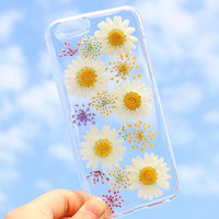 Summer Vibe Chrysanthemum Case 100% Handmade Dried Flowers Cover for iPhone 7 7Plus & iPhone 6 6s Plus + Gift Box B61