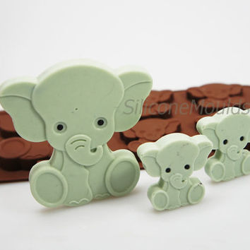 4+1 ELEPHANT Animal Children Baby Novelty Chocolate Silicone Mould Candy Lolly Cake Topper Silicon Mold - resin / craft / wax / soap
