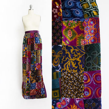 Vintage 1960s VELVET Maxi Skirt -1970s Patchwork Printed High Waist Boho Hippie - Small