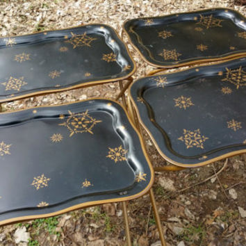 Metal TV Tray Tables Set of Four with Stand Black Gold Atomic Design