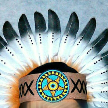 Native American Headdband, Indian Headdress, Beaded Headband, Feather Headdress, Edc, Edm, Rave Outfit, Nocturnal, Masquerade, Wonderland