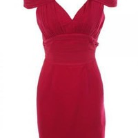 Red Pleated Dress with V-Neck and Back