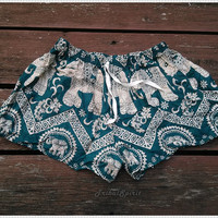 Elephant Shorts Print Boho Hobo Beach Hippie For Summer Hipster Exotic Elegant Clothing Aztec Ethnic Bohemian Ikat Boxes Sleepwear Beach