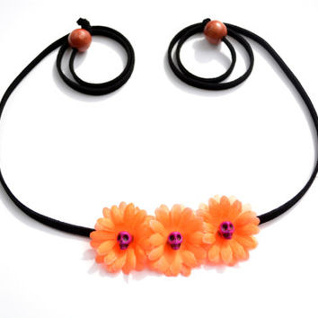 Halloween Skull Flower Crown Orange Halloween Flower Headband with Skull Centers Halloween Accessory Funky Crown Fall Floral Halo Hippie