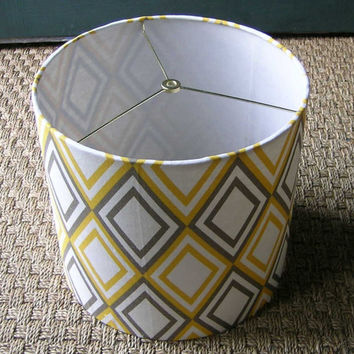 "Drum lamp shade 12"" X 10"" in Premier Prints fabric ""Annie"" yellow and Taupe / grey diamonds"