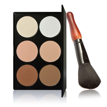 Pro 6 Colors Cosmetic Face Contour Powder Makeup Palette with Gourd Shape Powder Brush with Bag Facial Blending Concealer Kits