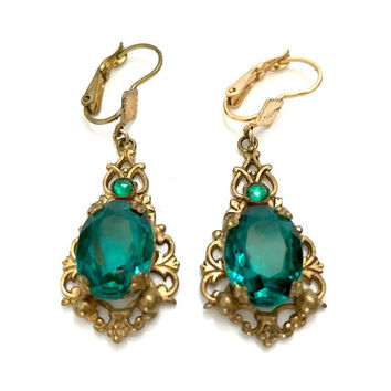 Czech Glass Dangle Earrings, Vivid Large Faceted Teal Oval and Small Cabochon, Ornate Gold Tone Metal Surround, Lever Back, Gift for Her