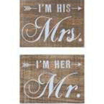 "7-1/2""L x 5-1/2""H Pine Wood Block Décor, Mr/Mrs, 2 Styles"