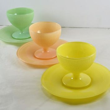 3 Pastel Sherbet plus Saucers Saguenay Pattern Canadian Depression Glass Dominion Canada Green Pink Yellow Fired On Enamel ,Tight Ribbed