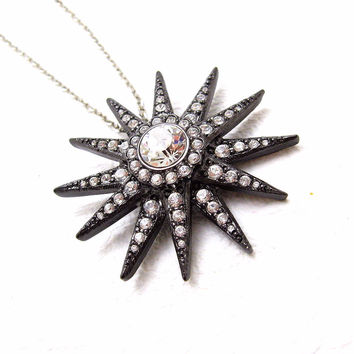 KJL Rhinestone Necklace Large Star Vintage Jewelry