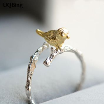 Sterling Silver Tiny Bird Ring