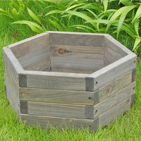 Medium 20 X 20 X 9 Inch Hexagon Fir Wood Barrel Planter