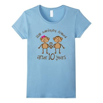 Funny 10th Anniversary Monkey Couples gift T-shirt