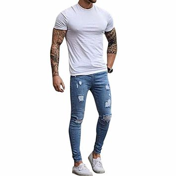 Skinny Jeans (Blue)Pants Men's Pant Zipper Destroyed Torn