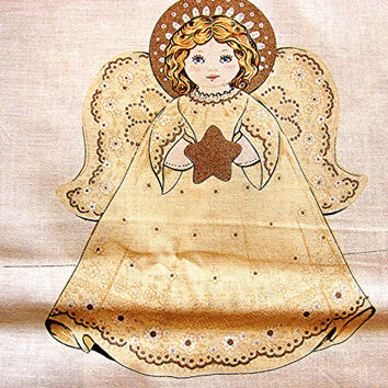 Vintage Fabric Panel Christmas Angel Tree Topper or Centerpiece
