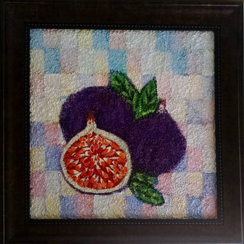 Three Little Figs, Original Painting, Textured Art, Acrylic Painting, Mixed Media, Mixed Media Canvas, Textured Canvas, Colorful Art, Fruit