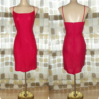 Vintage 80s Valentine RED Linen Pencil Wiggle Mini Dress 8 BodyCon Sundress