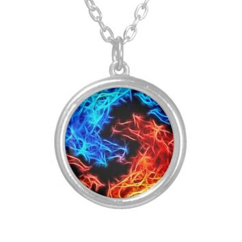 flames of good and evil silver plated necklace
