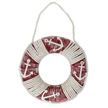 "14"" Life Preserver with Rope and Anchor Detail Wall Decor"