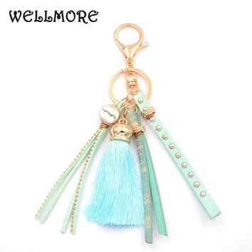 WELLMORE 2017 leather,tassel,colorful alloy Key Chain For Women Girl Bag Keychain