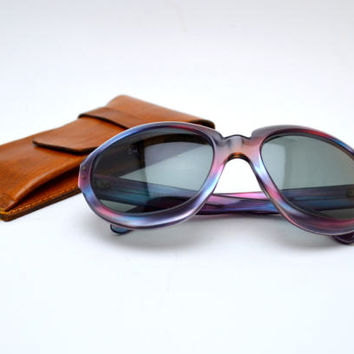 Vintage Oversize Sunglasses, France, Blue and Pink Streaks, Includes Leather Sunglasses Case, circa 1970s