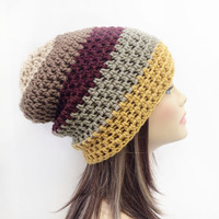 FREE SHIPPING - Crochet, Supa Slouch, Beanie, Hat - Unisex, Mens, Womens - Cream, Tan, Maroon, Off-white, Gold, Yellow