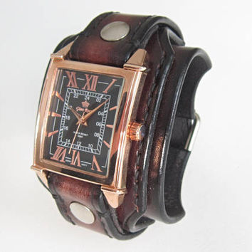 Leather Watch Cuff, Brown Leather