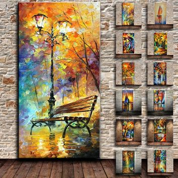 Oil Canvas Hand Painted Knife Abstract Modern Home Wall Decor Rain Tree Road Palette Picture