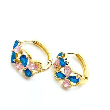 Blue and Pink Cz Tones Huggies Earrings 18Kts of Gold Plated