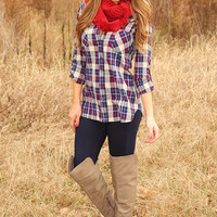 Crazy In Love Top: Navy/Plaid
