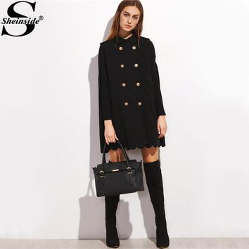 Sheinside Double Breasted Cape Coat Vintage Black 2017 Autumn Winter Scallop Edge Outerwear Women Casual Elegant Lapel Slim Coat