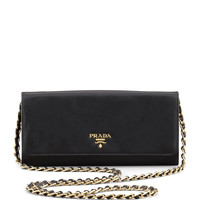 Saffiano Wallet on a Chain, Black (Nero) - Prada