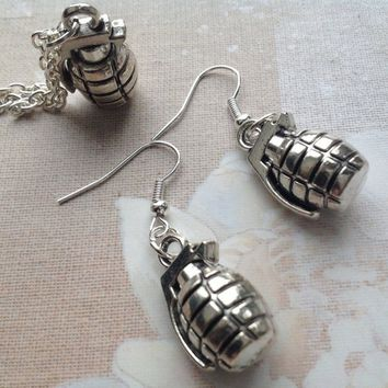 Hand Grenade Earrings and Grenade Necklace, Quirky Fun Gift Set, Military, Weaponry, Zombie