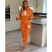 Champion Women Fashion Letter Pullover Sweater Pants Set Two-Piece orange
