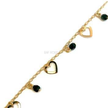 Heart Charm  Design Anklet 18kts of Gold Plated