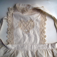 Vintage French Hemp Apron - Hand Stitched Cutwork - Steampunk Wedding Costume