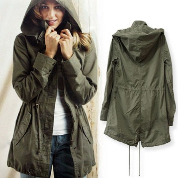 Green Womens Lady Hoodie Drawstring Military Trench Jacket Coat Parka Outwear = 1932353028