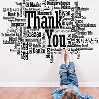 Thank You Sign Decal, Thank You Wall Sticker, Thank You in Many Languages Decor Design Wall Art, Thank You All Languages Room Mural se144