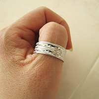 Sterling Silver Wedding Band Ring size 10.5 (Diamond texture cut), 9 mm wide