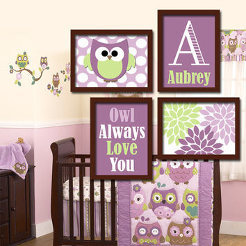 OWL Theme Monogram Child Name Purple Green Choose Any Quote Nursery Print Artwork Set of 4 Prints Girl WALL ART Picture Baby Decor