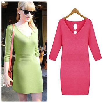 Long Sleeve Knit Slim Scales One Piece Dress [4918634500]