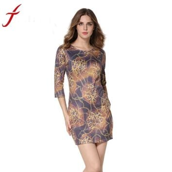 Women Plus Size Office Ladies Sexy Leopard Printed Dress Three Quarter O-Neck Party Beach Dress #LWN