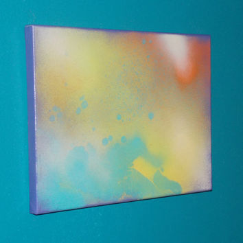 Shaman Stone #1 Crystal Energy Art Abstract Spray Paint 9x12 Healing Energy Spiritual Painting Stretched Canvas