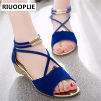 RIUOOPLIE Women Wedge Sandles Fish Mouth Design Korean Style Women's Flat Sandles
