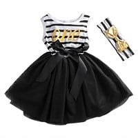 Summer 2017 Flower Kids Girl Princess Bow Knot Dress Toddler Baby Party Pageant Tutu Dresses+Headband