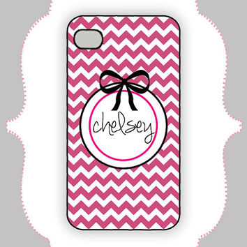 iPhone Case- Hot Pink/Black Bow Monogram-iPhone 4 Case, iPhone 4s Case, iPhone 5 Case, Monogram Case, Personalized iPhone Case
